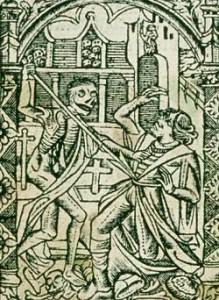 Elckerlijc en De Dood, illustratie in uitgave van het toneelstuk, 1500