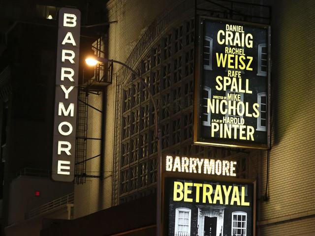 The Ethel Barrymore Theatre in New York, 2013, Rachel Weisz, Daniel Craig and Rafe Spall